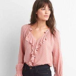 GAP | Swiss Dot Cascade Ruffle Top blush pink